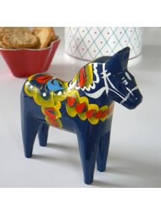 blaues Dalapferd 13 cm schwedische Volkskunst