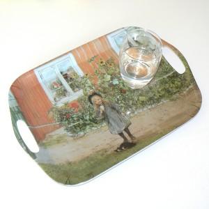 Kunststoff-Tablett eckig Carl Larsson Brita, eine Katze und ein Butterbrot