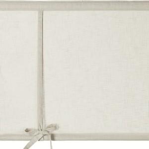 Schwedische Rollgardine aus beige farbener Baumwolle mit Webeffekt zum Hochbinden