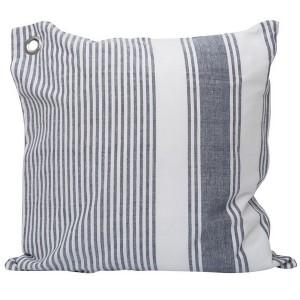 Kissenhülle / Kissenbezug 45x45 cm blau-weiß gewebt aus Baumwolle mit Metallöse