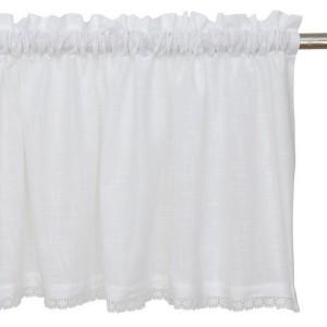 Querbehang / Bistrogardine 250 x 50 cm weiß aus Baumwolle in Leinenoptik mit Spitze