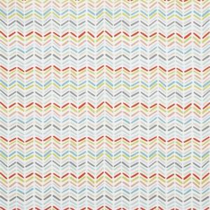 Gardinenschal / Vorhangschal aus Baumwolle mit bunten zickzack Linien im 2er-Set