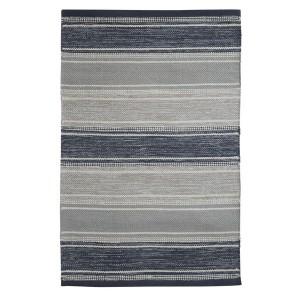 Schwedischer Webteppich aus Baumwolle grau blau