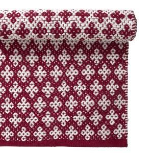Teppich / Läufer / Brücke 70x140 cm rot weiß aus Baumwolle gewebt