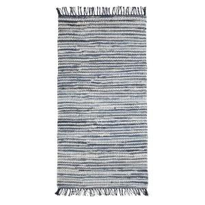 Flickenteppich blau weiß gestreift 70x140 cm Baumwolle