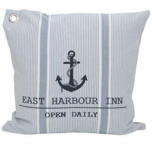 "Maritime Kissenhülle / Kissenbezug 45x45 cm ""Harbour Inn"" hellblau weiß gestreift mit Anker"