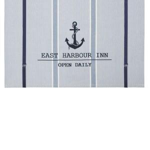 "Maritime Rollgardine Raffgardine Binderollo ""Harbour Inn"" 120 cm hellblau weiß gestreift mit Anker"