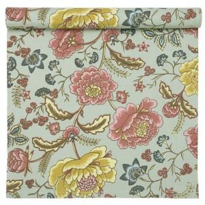 Romantischer Tischläufer aus Baumwolle mit Blumenmuster