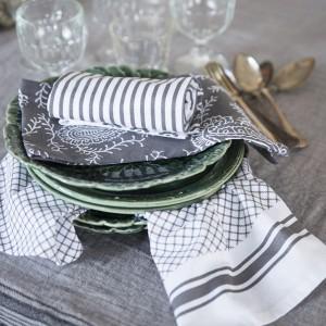 3 Geschirrtücher grau-weiß aus Baumwolle