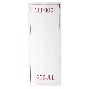 """Weißer Tischläufer """"God Jul"""" rot bestickt 100 x 40 cm"""