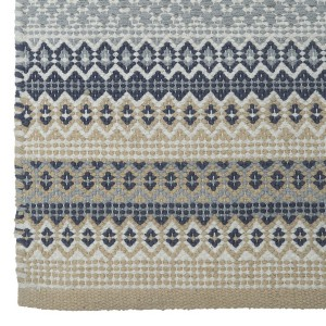 Teppich / Läufer / Brücke 70x140 cm beige blau grau aus Baumwolle gewebt