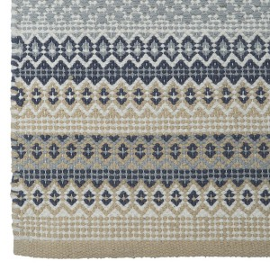 Teppich / Läufer / Brücke 70x240 cm beige blau grau aus Baumwolle gewebt