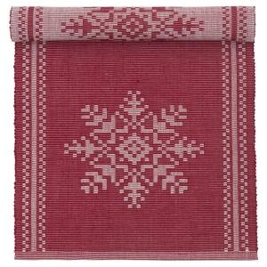 """Tischläufer """"Schneeflocken"""" rot weiß gewebt 130 x 35 cm zum Wenden"""