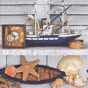 """20 Papier Servietten """"Maritime Deko"""" mit Muscheln, Booten und Kompass"""