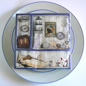 "20 Papier Servietten ""Maritime Deko"" mit Muscheln, Leuchtturm und Kompass"