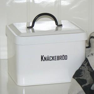 Knäckebrotdose schwarz-weiß aus Metall