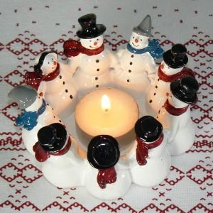 Harvesttime Teelichthalter Schneemann-Ring aus Keramik