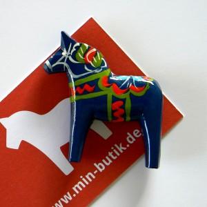 Original Dalapferd Magnet blau, handgeschnitzt und handbemalt