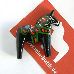 Schwedisches Kunsthandwerk: Original Dalapferd Magnet für Kühlschrank und Whiteboard schwarz handgeschnitzt und handbemalt