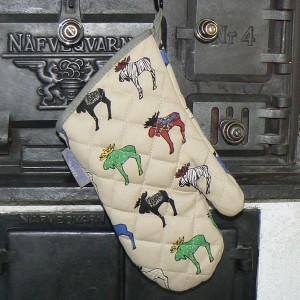 Topfhandschuh / Grillhandschuh Ingelas Älgar mit bunten Elchen