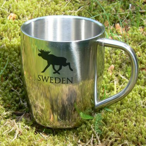 Kaffeebecher / Teebecher doppelwandig Edelstahl schwarzer Elch