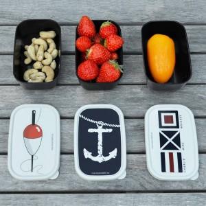 3 maritime Minidosen aus Kunststoff