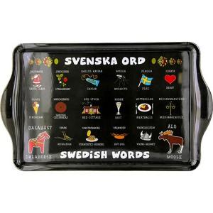 """Tablett 38x23cm """"Schwedische Wörter"""" mit typisch schwedischen Motiven"""