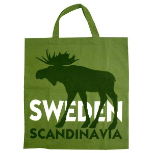 Einkaufsbeutel Elch Scandinavia grün aus Baumwolle