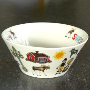 Schale Schweden-Motive aus weißem Porzellan
