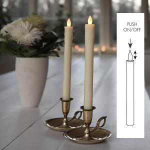 LED-Echtwachs-Stabkerzen (2er-Set) 24 cm champagner mit push on/off Schalter