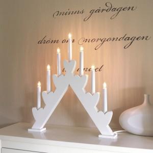 """Schwedischer Lichterbogen Herzen """"Annie"""" weiß 7-flammig aus Holz"""