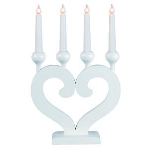 """Schwedischer LED-Kerzenständer """"Nusnäs-4"""" weiß aus Holz in Herzform"""