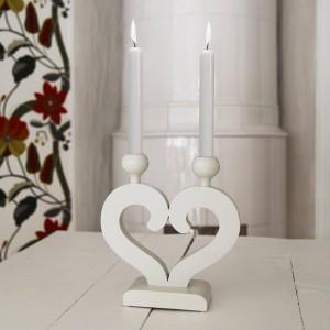 """schwedischer Kerzenständer """"Nusnäs-2"""" weiß aus Holz Herzform zum Landhausstil"""