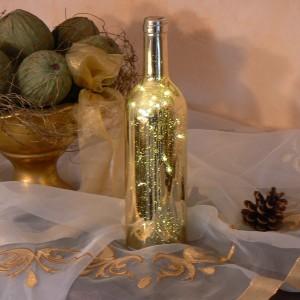 LED-Dekoration Flasche gold Batteriebetrieb mit Timer