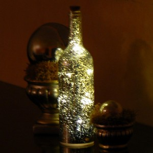 LED-Dekoration Flasche Bauernsilber Batteriebetrieb mit Timer