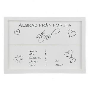 Holzschild  zur Geburt weiß schwedisch beschriftet