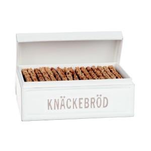 Weiße Knäckebrotdose mit schwedischer Beschriftung aus Holz