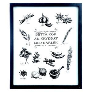 """Schwarz-weiße Wanddeko für die Küche: Bild """"Gewürze und Kräuter"""" mit schwedischen Texten"""