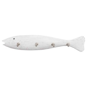 """Maritime Wanddeko: weiße Hakenleiste """"Fisch"""" 50 cm aus Holz"""