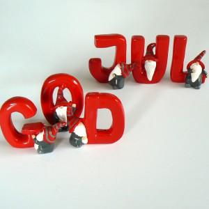 Schwedische Weihnachtsdeko: Buchstaben God Jul 6-teilig rot