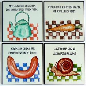 4 Blechschilder für die Küche schwedisch beschriftet