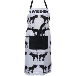 Schürze schwarze Elche mit Tasche und Touchon-Schlaufe