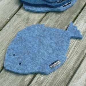 Dicker maritimer Wollfilz Untersetzer Fisch jeansblau meliert