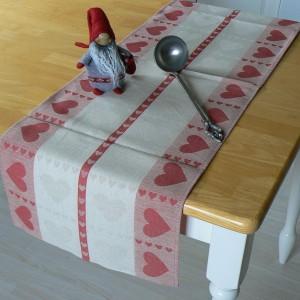 Skandinavischer Tischläufer Herzen Halbleinen 120 x 35 cm