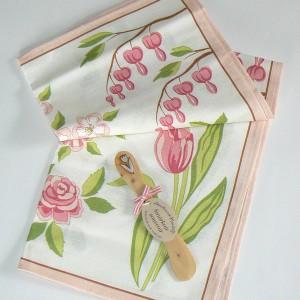 Geschirrtuch und Buttermesser rosa Blumen Kunstgewerbe