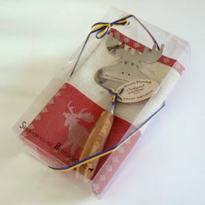 Geschenk-Set Geschirrtuch Käsehobel Elch in Rot
