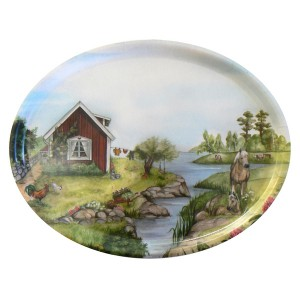"Tablett oval 33x25cm  ""Sommer in Schweden"""