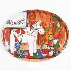 Birkenfurnier Tablett oval 33x25cm  Malerwerkstatt