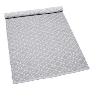 Ideal für den Flur: Teppich Ella hellgrau 70x250 cm Baumwolle recycelt