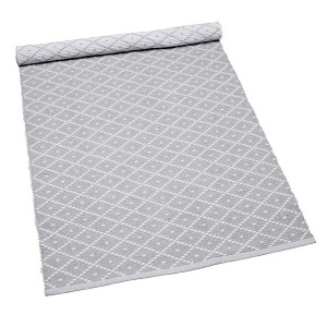 Teppich Ella hellgrau 70x160 cm Baumwolle recycelt